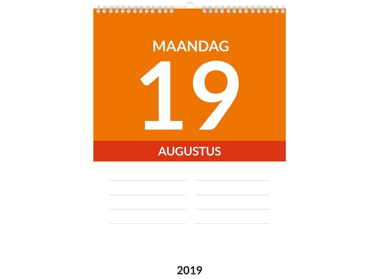 Dagkalender A4, met ophang haak, voorbeeld inhoud weekaanduiding 2019