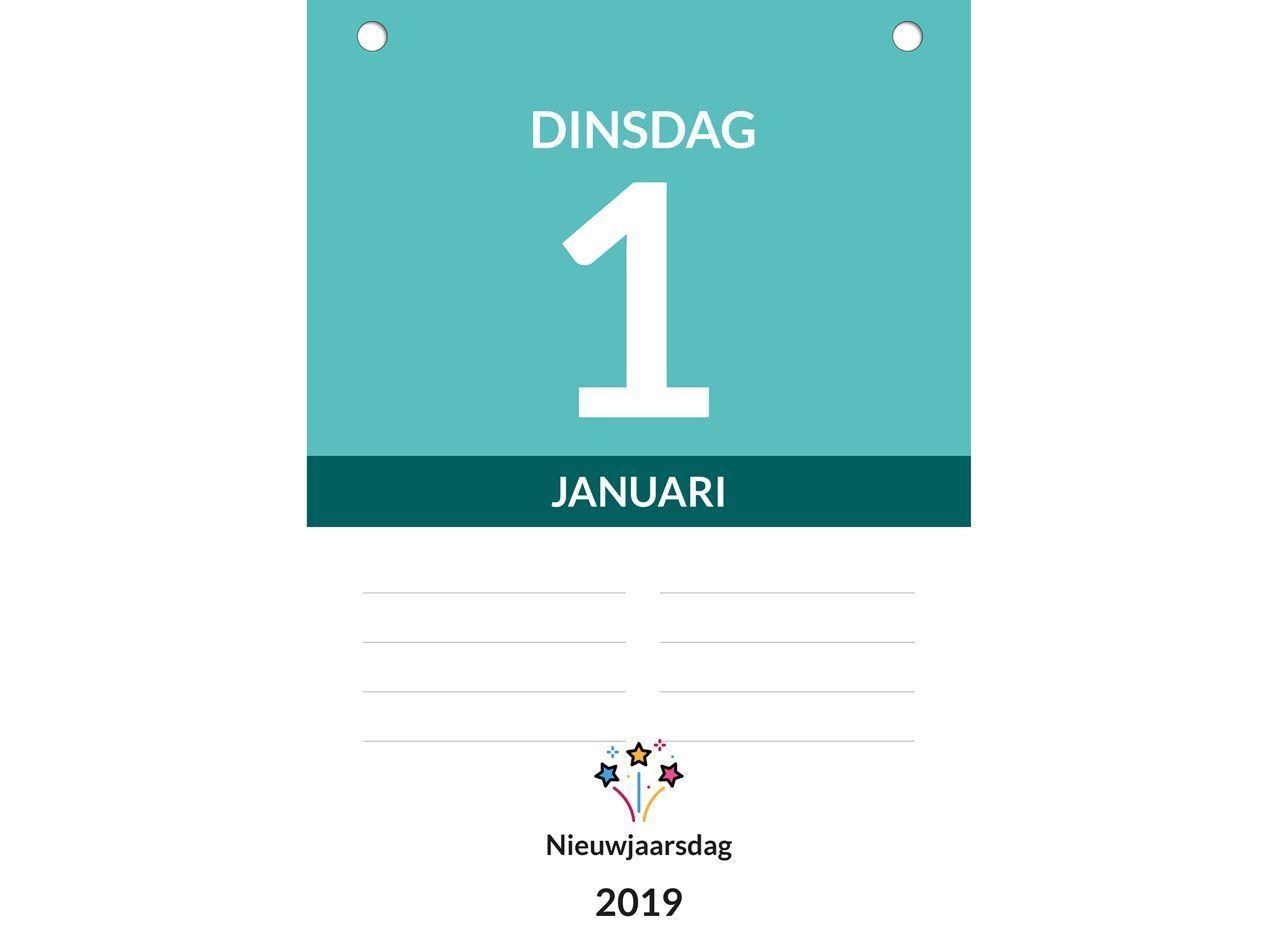 Dagkalender A4, scheurkalender, voorbeeld inhoud weekaanduiding 2019