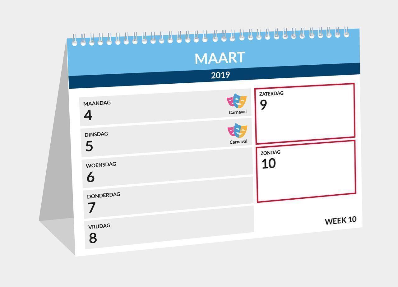 Bureau weekkalender, voorbeeld inhoud 2019