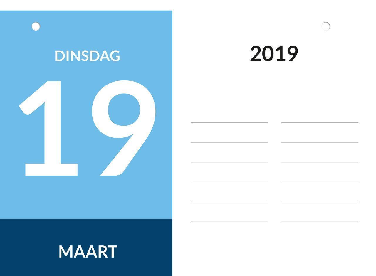 Dagkalender A4, scheurkalender, voorbeeld dag aanduiding 2019