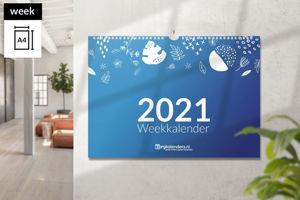 Afbeelding van Weekkalender A4 liggend met ophang haak (2021)