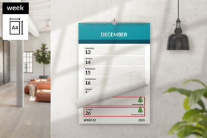 Afbeelding van Weekkalender A4 staand met ophang haak (2021)
