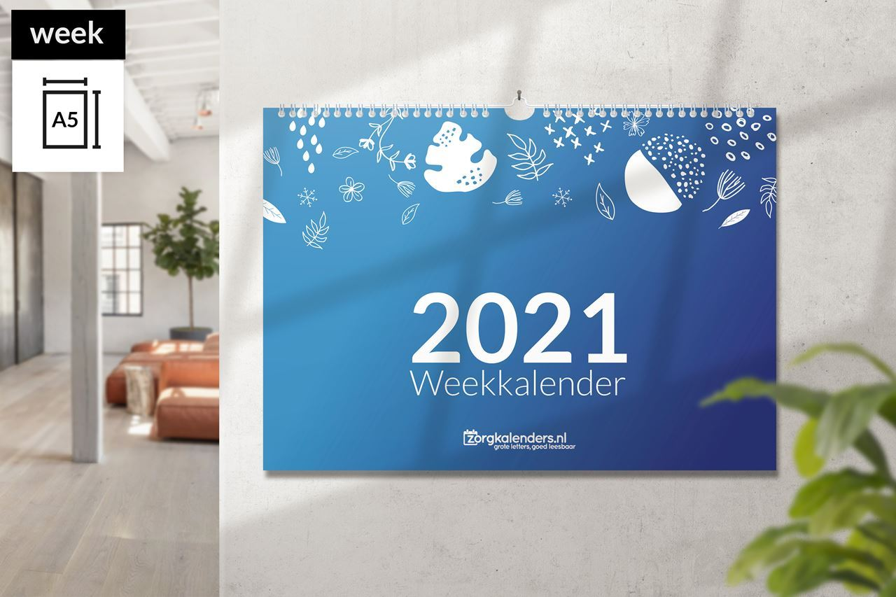 Afbeelding van Weekkalender A5 liggend met ophang haak (2021)