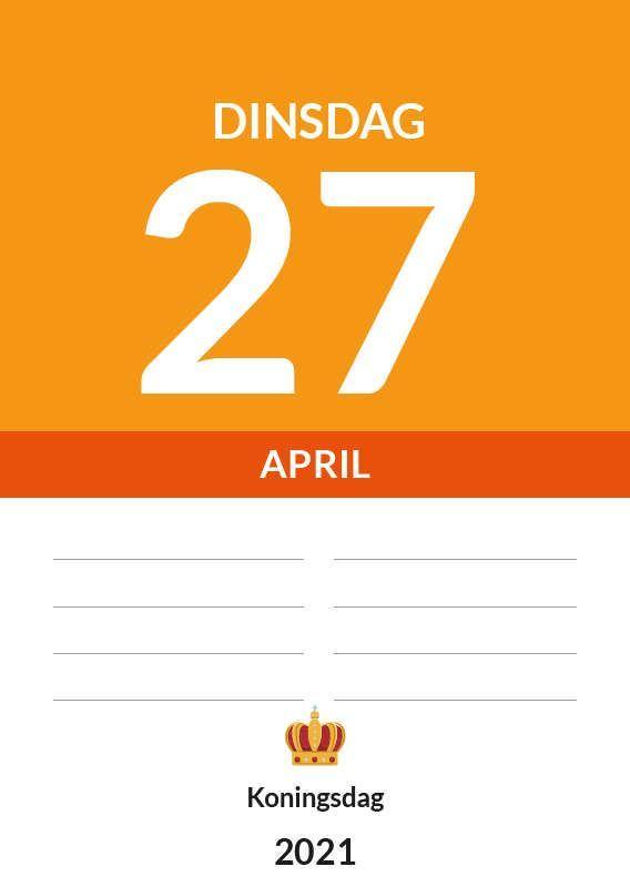 Afbeelding van Dagkalender A4 staand met ophang haak 2021