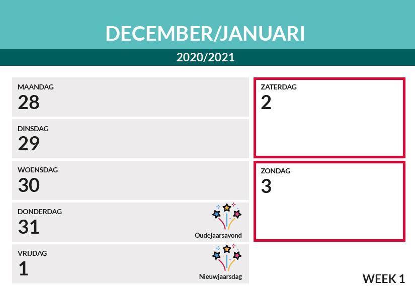 Afbeelding van Bureau weekkalender A5 liggend (2021)